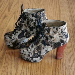 Jeffrey Campbell Dog Tapestry Lita Boots Size 7